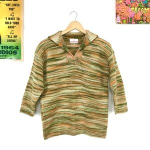 Vintage 70s space dyed striped wool sweater v neck